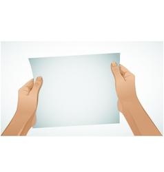 Woman hands keep paper vector image vector image