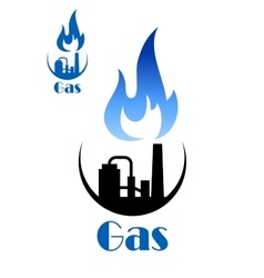 Factory pipes with blue flame of natural gas vector