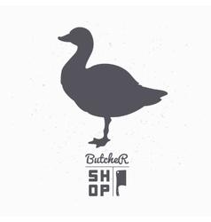 Farm bird silhouette Goose meat Butcher shop vector image