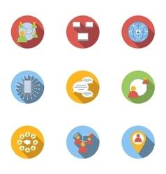 Global internet icons set flat style vector image