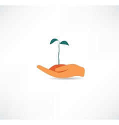 Hand and plant Design element vector image