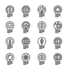 lightbulb thin line icon set editable stroke vector image