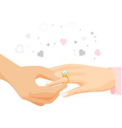male hand puts diamond ring on female finger vector image vector image