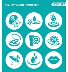 set of round icons white Beauty salon cosmetics vector image vector image