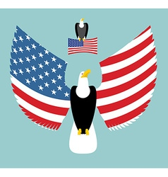 American Eagle Most powerful Bird and US Flag vector image