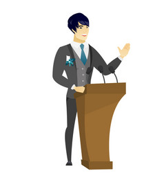 asian groom giving a speech from tribune vector image