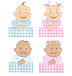 babies boy and girl vector image vector image