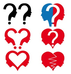 Man and woman with question mark set vector image vector image