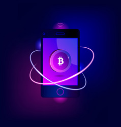 mobile bitcoin payment concept vector image vector image