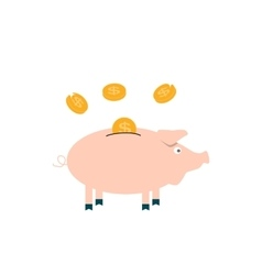 Pink Pig piggy bank with falling coins - vector image vector image