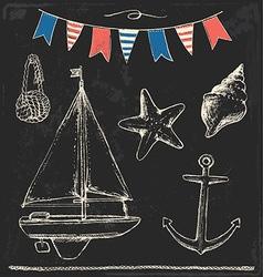Rustic Sailboat and Anchor Sea Elements Chalk Set vector image