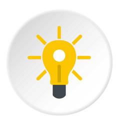 yellow glowing light bulb icon circle vector image vector image