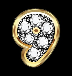 9 number gold and diamond bling vector image vector image