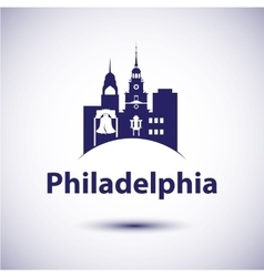 Philadelphia Pennsylvania city skyline silhouette vector image
