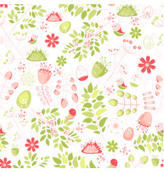 spring fresh seamless pattern with birds leaves vector image vector image