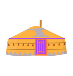 tent in the mongolian patternsmongolian tent vector image vector image