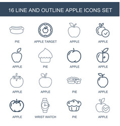 16 apple icons vector