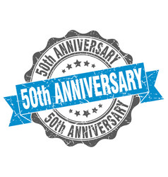 50th anniversary stamp sign seal vector image