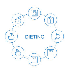 8 dieting icons vector