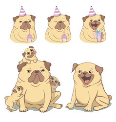 adorable beige puppy pug with a pink donut have a vector image