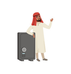 arabic businessman character standing next safety vector image