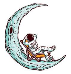 Astronaut relaxing on moon vector