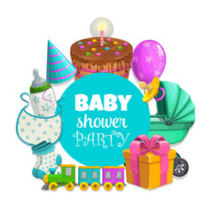 Baby shower party banner with toys and pie vector