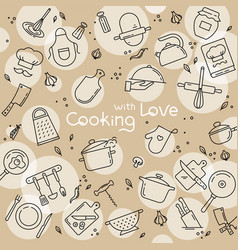 Background from icons on the theme of kitchen and vector