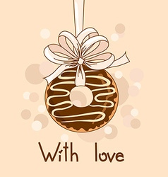 Background with chocolate donut vector