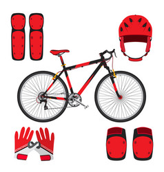 Bicycle bike skateboarding equipment and protect vector