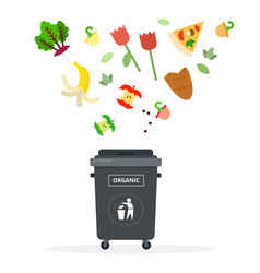 black trash can for organic waste flat isolated vector image