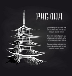 Blackboard poster with asian pagoda vector