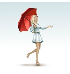 Blonde Woman Girl Under the Red Umbrella in Dress vector