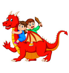 Boy and the girl playing with the red dragon vector