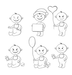 Cartoon children with toys outline vector