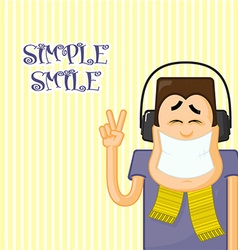 Cartoon man with music vector image