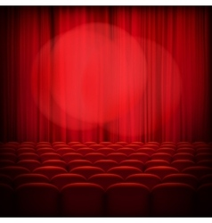 Closed theater red curtains EPS 10 vector image