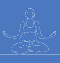continuous line drawing girl in meditation concept vector image
