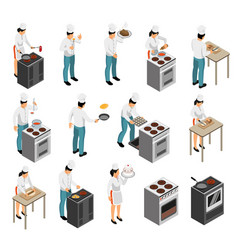 cook profession isometric set vector image