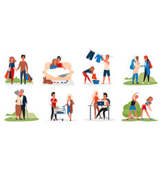 couple people activity set young old lovers vector image