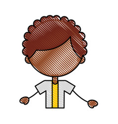 Cute african boy character icon vector