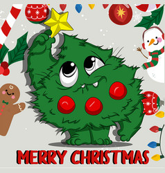 cute christmas tree character vector image