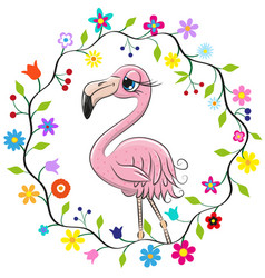 cute flamingo in a flowers frame vector image