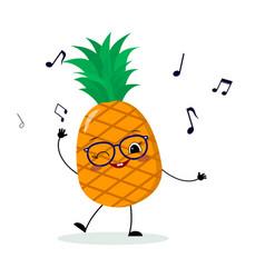cute pineapple cartoon character in glasses dances vector image