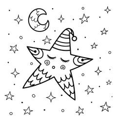 Cute sleeping star coloring page good night vector