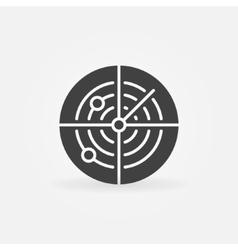 Dark radar icon or logo vector image