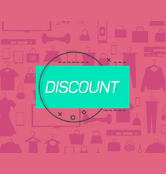 Discount logo on pattern with goods vector