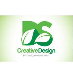 Ds green leaf letter design logo eco bio leaf vector