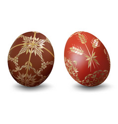 easter eggs with ornamental pattern vector image