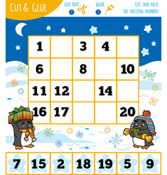 education numbers game for children winter theme vector image